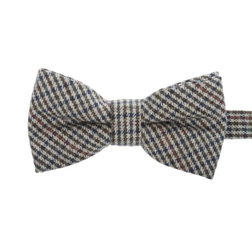 Checked Brown and Green Wool Bow Tie